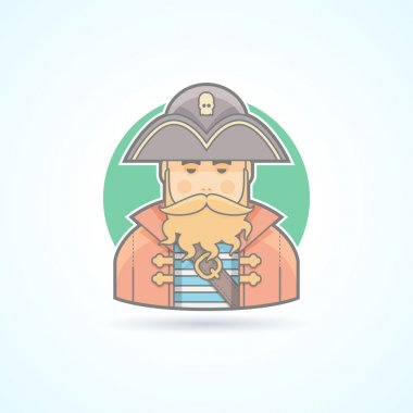 Pirate, buccaneer,sea dog icon. Avatar and person illustration. Flat colored outlined style.