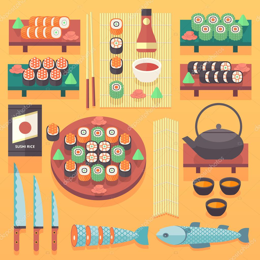 Japanese Food And Cuisine Il Ration Flat Vector Co Ng Design Elements Traditional Asian Kitchen Concept