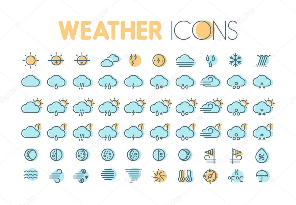 Weather Icons Weather Forecast Symbols And Elements Collection For