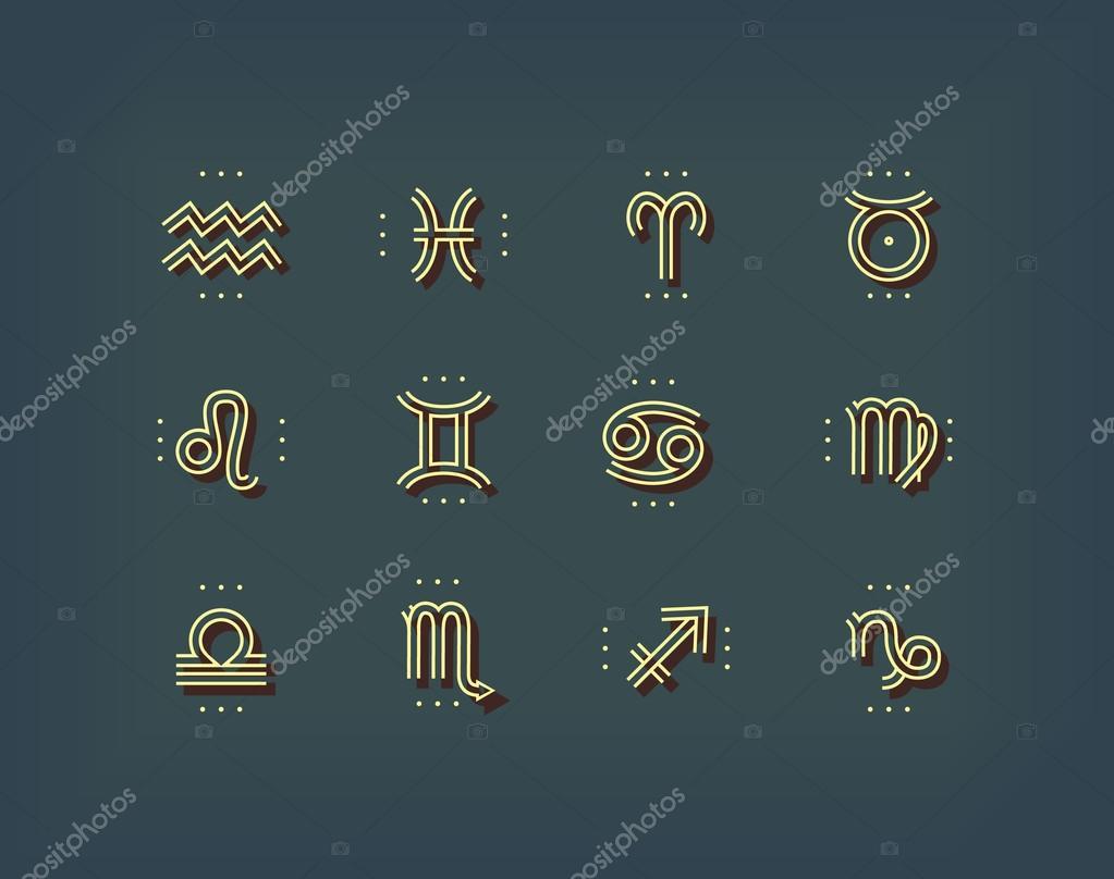 Zodiac icon  Sacred symbols  Astrology signs  Vintage thin line
