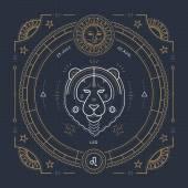 Fotografie Vintage thin line Leo zodiac sign label. Retro vector astrological symbol, mystic, sacred geometry element, emblem, logo. Stroke outline illustration.