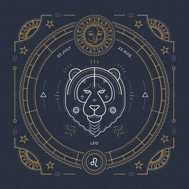 Vintage thin line Leo zodiac sign label. Retro vector astrological symbol, mystic, sacred geometry element, emblem, logo. Stroke outline illustration.