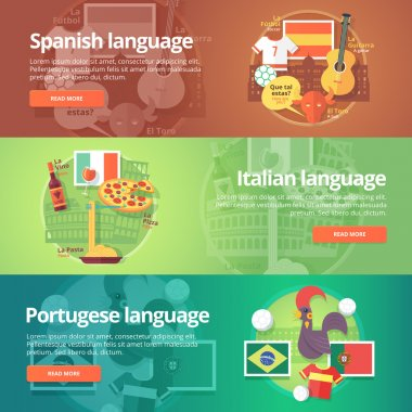 Foreign languages learning banner set. Design illustration for Spanish, Italian and Portuguese language. Colorful vector flat concepts horizontal layout.