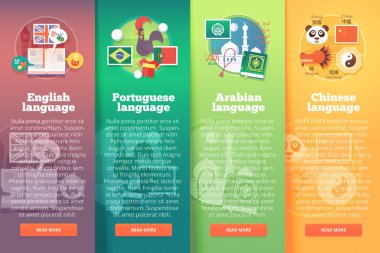 Vertical banners set of foreign language schools. Flat vector colorful illustration concepts of English, Portuguese, Arabian and Chinese languages. For brochure, booklet, print and web materials.