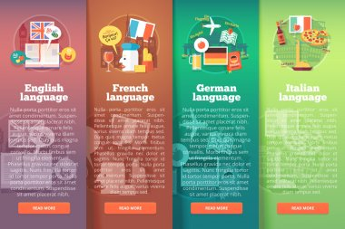 Vertical banners set of foreign language schools. Flat vector colorful illustration concepts of British English, French, German and Italian languages. For brochure, booklet, print and web materials.