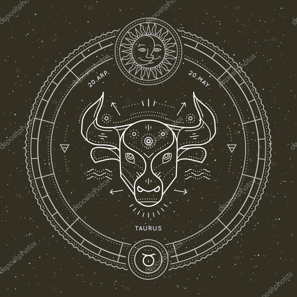 Vintage Thin Line Taurus Zodiac Sign Label Retro Vector Astrological Symbol Mystic Sacred