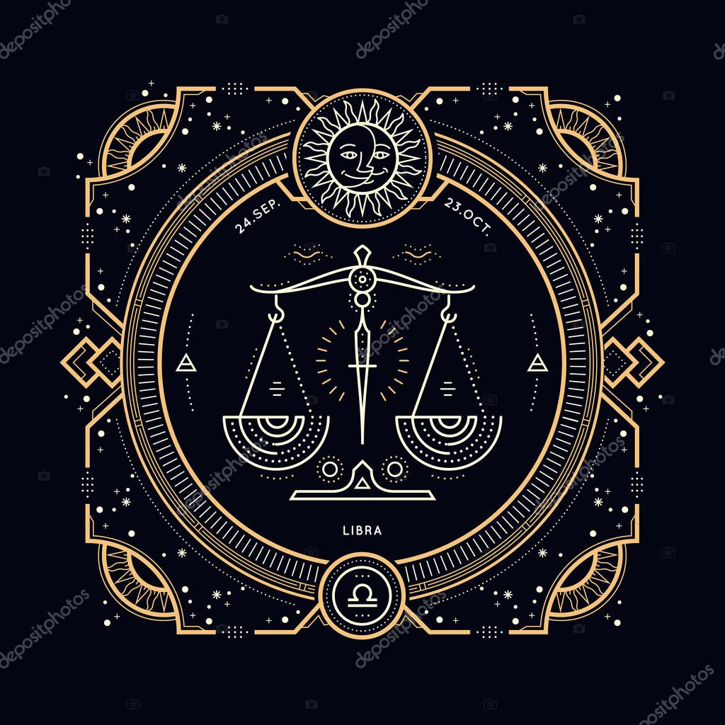 vintage thin line libra zodiac sign label retro vector astrological rh depositphotos com liber logout library logo