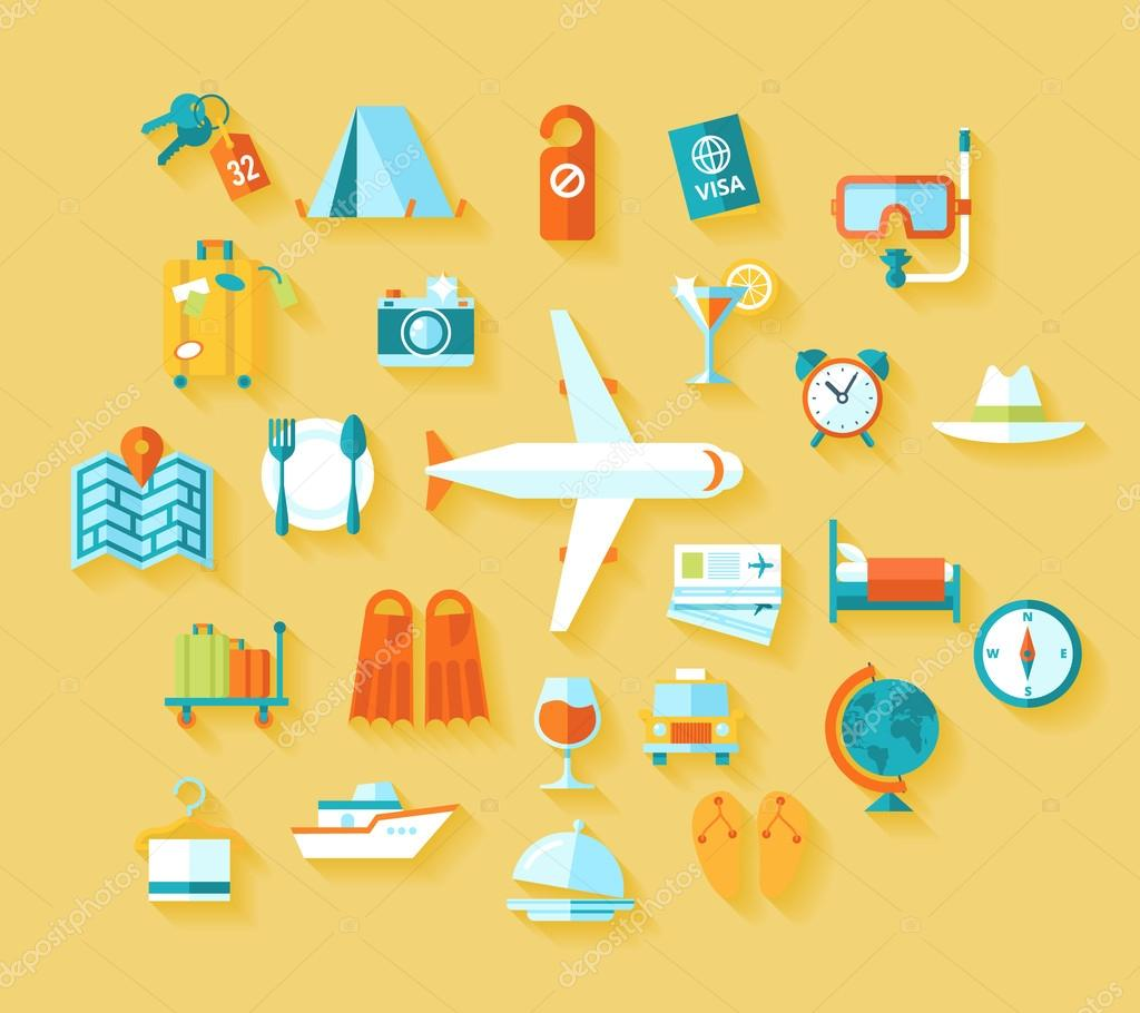 Flat design style modern vector illustration icons set of traveling on airplane, planning a summer vacation, tourism