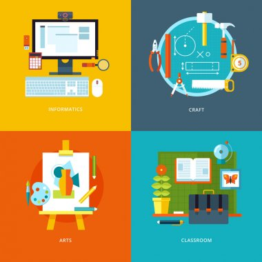 Vector school and education icons set for web design and mobile apps. Illustration for informatics, craft, arts and classroom stuff.