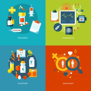 Set of flat design concepts for medical icons for mobile apps and web design. Icons for treatment, diagnostics, nutrition and sexologis.