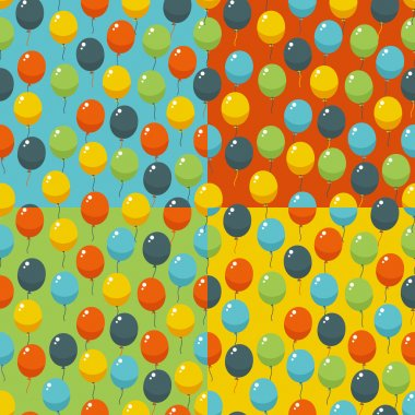Colored party baloons pattern. Birthday, wedding, anniversary, jubilee, rewarding and winning invitation design. Seamless backgrounds.