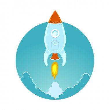 Space rocket flying in sky, flat design colored illustration