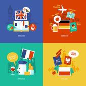 Fényképek Készlet, lapos design koncepció ikonok az idegen nyelvek. Ikonok részére angol, német, francia és lengyel