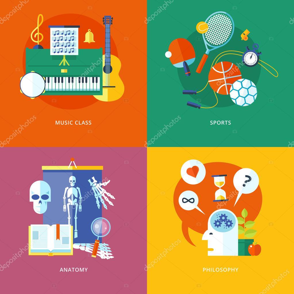 Satz von flachen Design-Konzept-Ikonen für Schule und Bildung ...