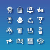 Fotografie Shopping flat white icons set with long shadows