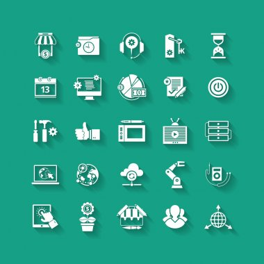 White flat icons set. Business object, office tools.
