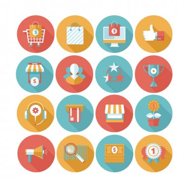 Shopping flat icons set