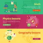 Sor lapos tervezési koncepciók, a matematika, a fizika, a földrajz. Fogalmaival web bannerek és nyomtatási anyagok.