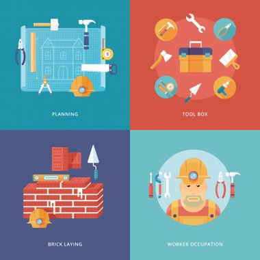 Vector construction and building icons set for web design and mobile apps. Illustration for planning and draft, toolbox equipment, brick laying job, worker occupation.