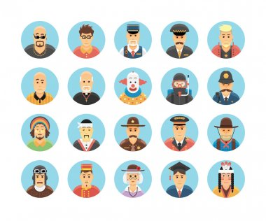Persons icons collection. Icons set illustrating people occupations, lifestyles, nations and cultures.