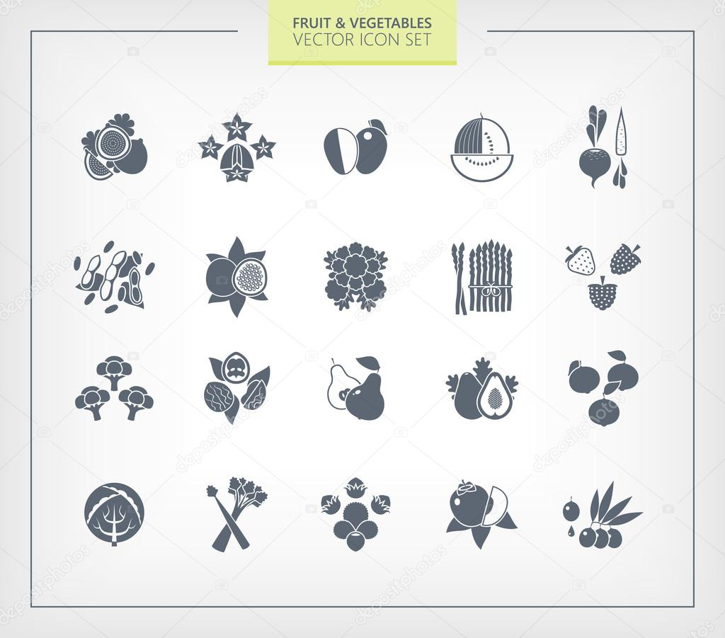Fruit and Vegetables icon set. Black silhouettes on wihte background.