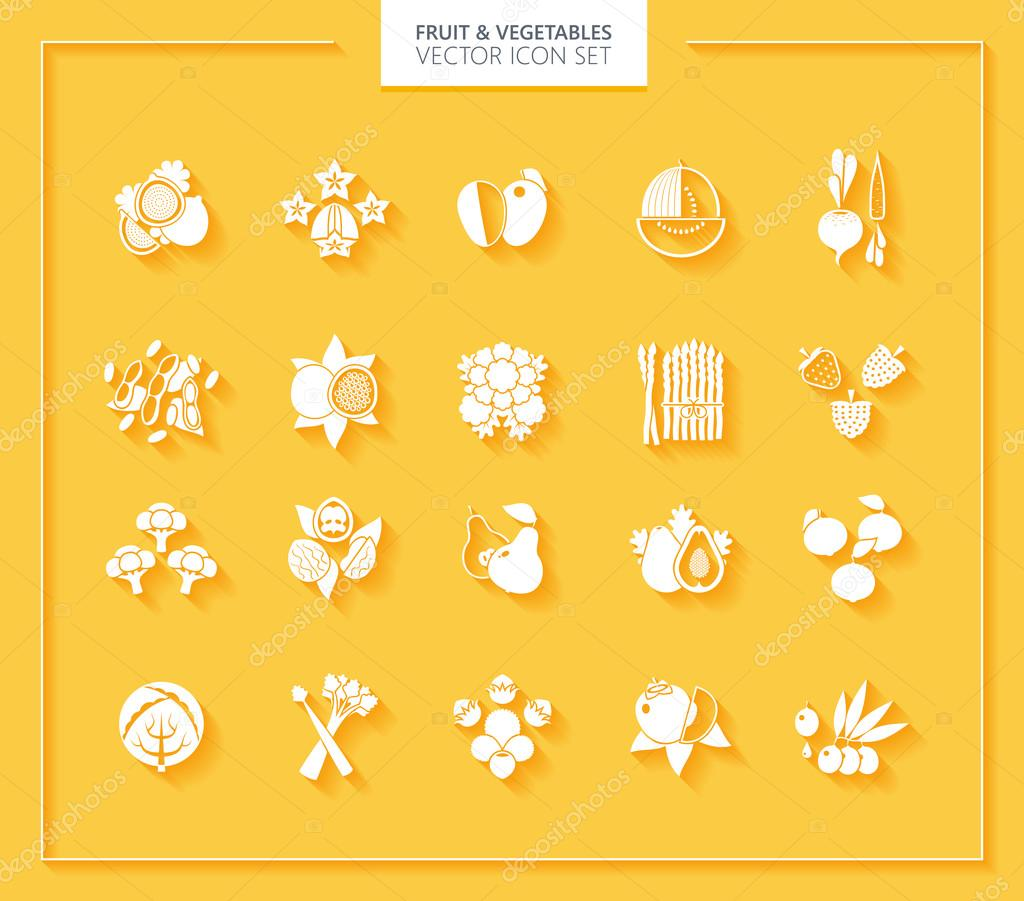 Fruit and Vegetables icon set. White silhouettes with soft shadows.