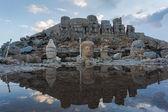Kamenná hlava sochy na Nemrut hora v Turecku