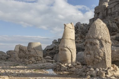Stone head statues at Nemrut Mountain in Turkey