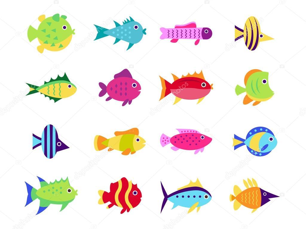 かわいい魚ベクトル イラスト アイコン セット — ストックベクター