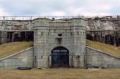 Sandy Hook, NJ - USA - Jan 17, 2021: Closeup of Battery Potter, part of Fort Hancock, a former US Army fort at Sandy Hook.