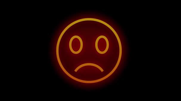 Zářící červená a oranžová cedule úsměvu. 3D animace vykreslující neon barevně drát. Animace UHD 3840x2160.