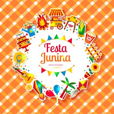 Festa Junina village festival icons