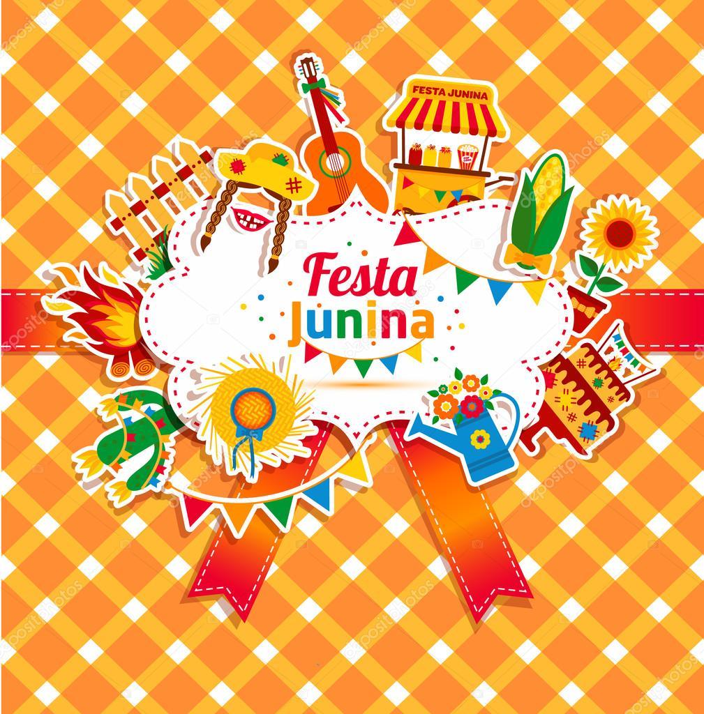 Festa Junina Dorf Festival Symbole Stockvektor