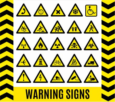 Warning signs set.