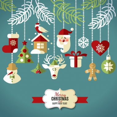 Christmas design icons set. Vector background. stock vector