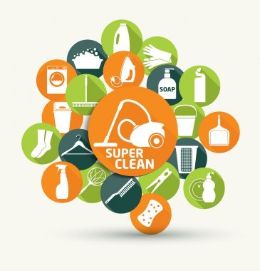 Cleaning abstract color icons set. clip art vector