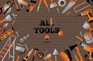 Buildings tools icons set.