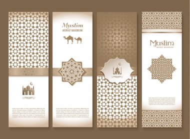 brown  banners set of arabian design