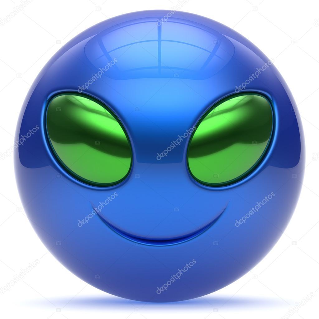 smiley alien face cartoon cute head emoticon monster blue u2014 stock