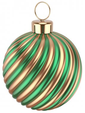 Christmas ball bauble New Years Eve  green gold decoration