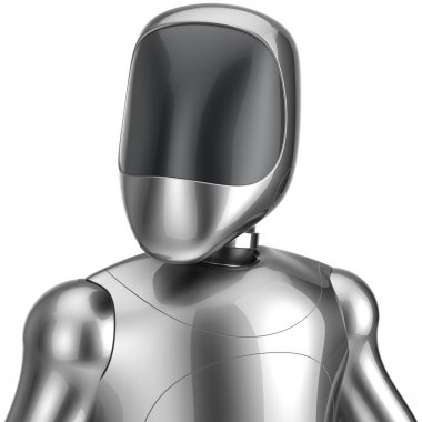 Cyborg robot android futuristic chrome bot character portrait