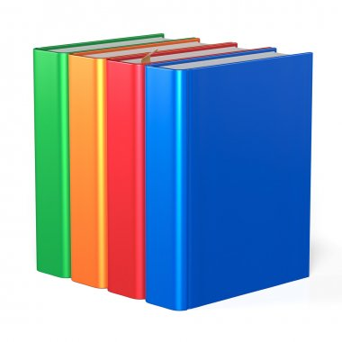Blank books educational four textbooks colorful content icon