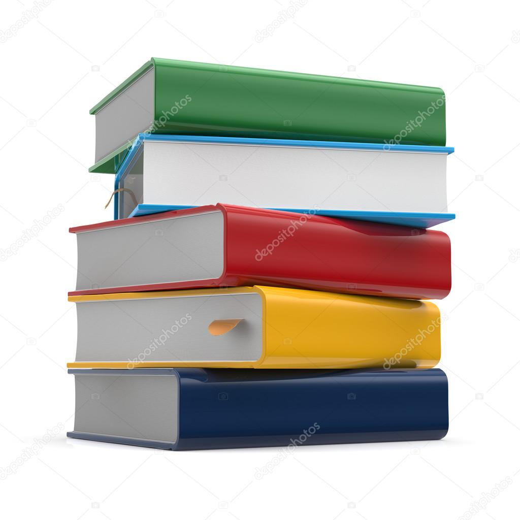 Books stack blank covers textbook different colors template — Stock ...