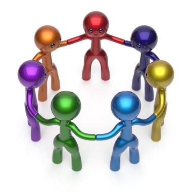 Social network people circle teamwork diverse characters
