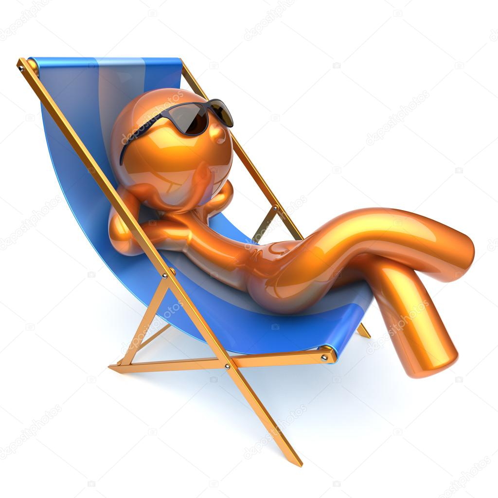 Man relaxing cartoon character chilling beach deck chair for Chaise 3d dessin