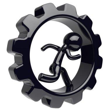 Man character runner inside gear wheel gearwheel cogwheel