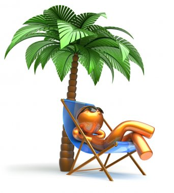 Man relaxing chilling beach deck chair palm tree character