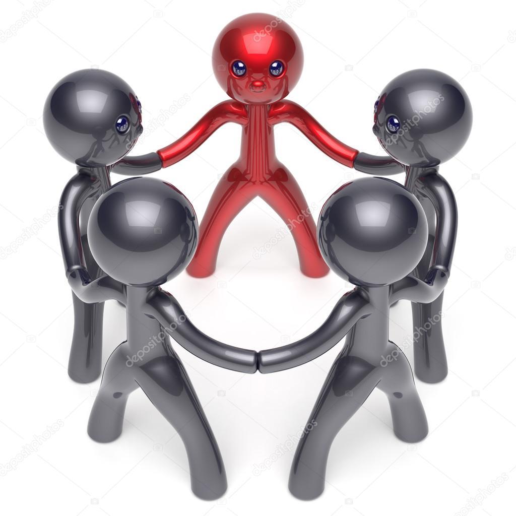 Gente del círculo líder liderazgo carácter estilizado trabajo en ...