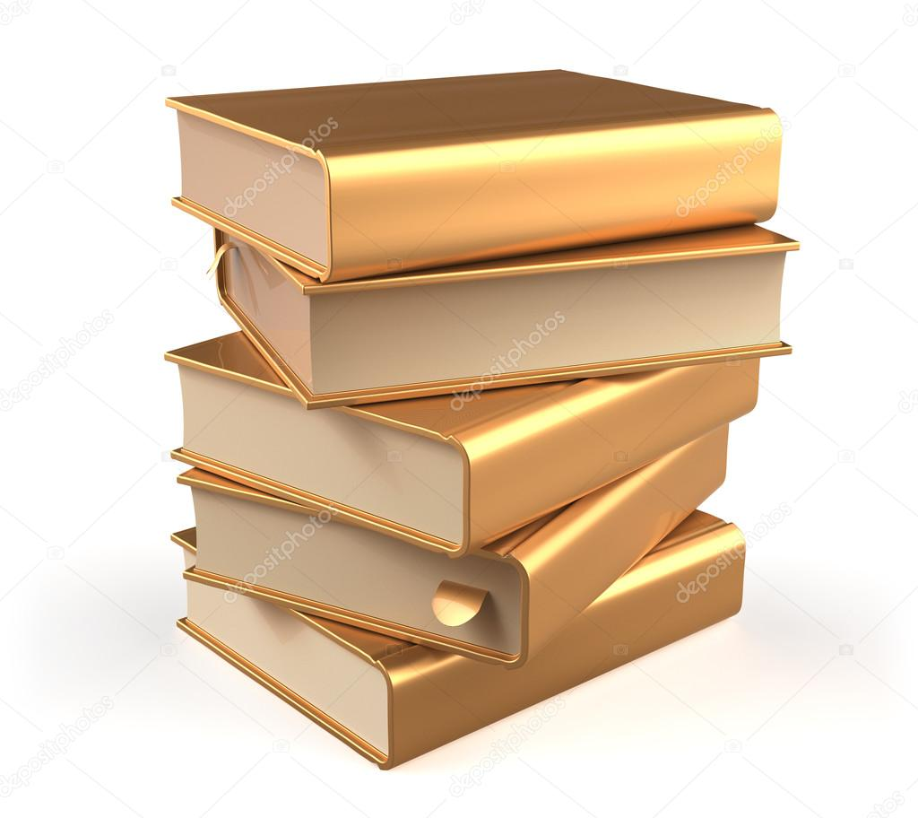 golden books textbook stack five 5 blank yellow gold icon ストック