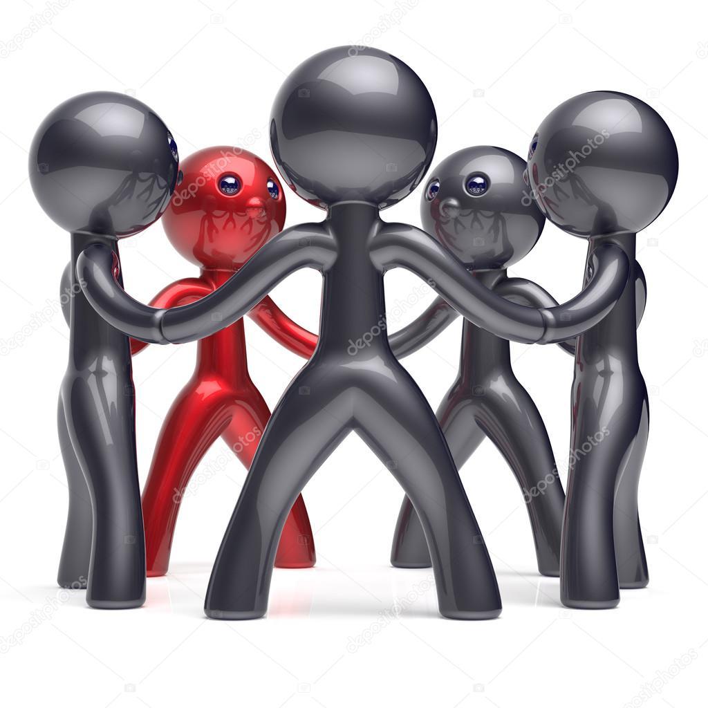 Jefe de hombre de trabajo en equipo personas red social circle ...